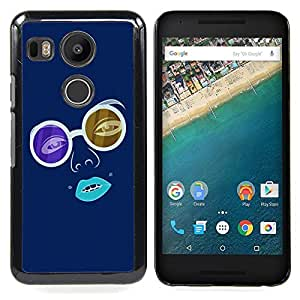 Omega Covers - Snap on Hard Back Case Cover Shell FOR LG GOOGLE NEXUS 5X - Blue Hippy Glasses