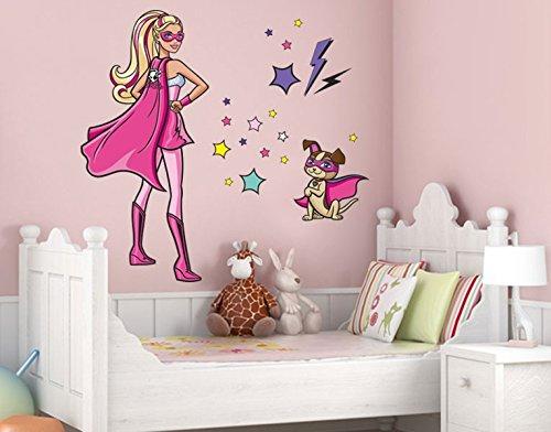 Klebefieber DS 1027-B Wandtattoo Barbie Supergirl & dog B x H: 30cm x 38cm (erhältlich in 9 Größen) als Geschenk