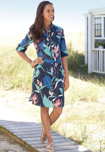 Chadwicks Botanical Print Linen Shirtdress