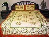 Cotton Bedsheets- 3pc Set Asian Decor Floral Print Indian Bedspreads Beddin ....