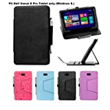 i-UniK Dell Venue 8 PRO Windows 8.1 HD Tablet (8 inch) Slim PU Leather Protection Case [Bonus Stylus Included] (Black)