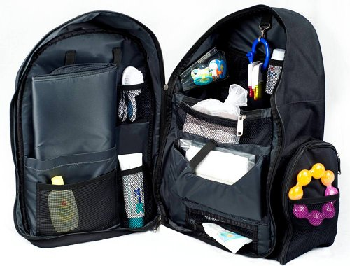 Okkatots Travel Baby Depot Backpack Bag - Black