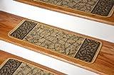 ディーン ウォッシャブル 滑り止め カーペット 階段用マット - ガーデンパスゴールド & ブラウン (13枚) (並行輸入)