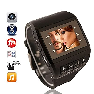 "Watch Cell Phones - Q8 Dual Sim Quad Band FM Watch Cell Phone - 1.33"" Touch Screen with Spy Camera by Odysseus"