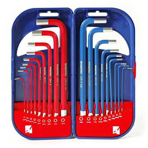 WORKPRO W022011A Long Arm Hex Key Set with Plastic Box, 18 Piece (Long Box Sae Wrench Set compare prices)