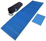 折りたたみ レジャーマット + 座布団マット 収納袋セット 軽量 厚み約2cm (ブルー)