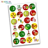 24 Numéro de calendrier de l'Avent Stickers - Stickers Bricolage - pour la fabrication et le remplissage - Conception d'autocollant Nr. 1...