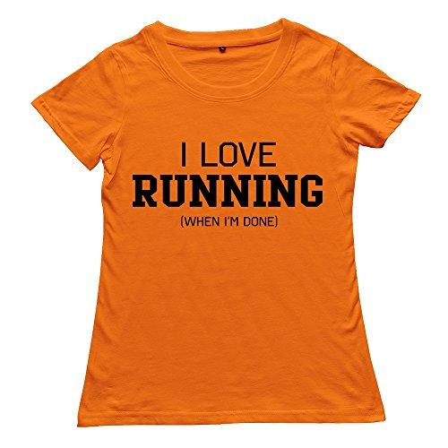 Stabe Women'S Love Running Im Done T-Shirt 100% Cotton Cool Orange
