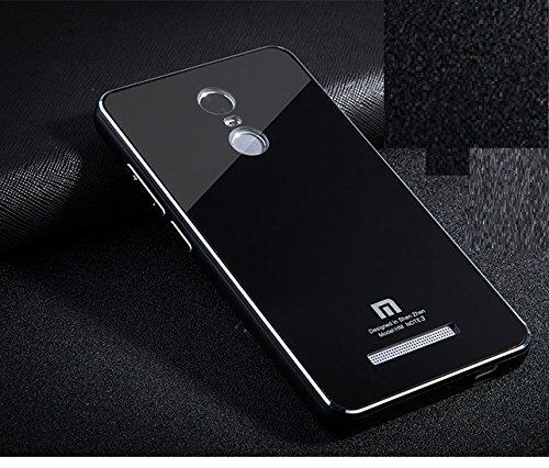 new style 584ea 18e6e AE (TM) HIGH QUALITY Tempered Glass Back Aluminium Side Bumper Cover  Replacement Case for Xiaomi REDMI NOTE 3 - FULL BLACK