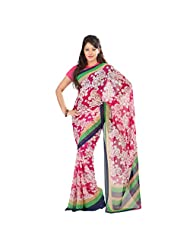 Admyrin White And Pink Georgette Saree With Pink Blouse Piece