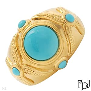 FPJ Irresistible Brand New High quality Ring With 2.56ctw Genuine Turquoises Beautifully Crafted in 14K Yellow Gold. Total item weight 6.0g - Certificate Available. Size 6