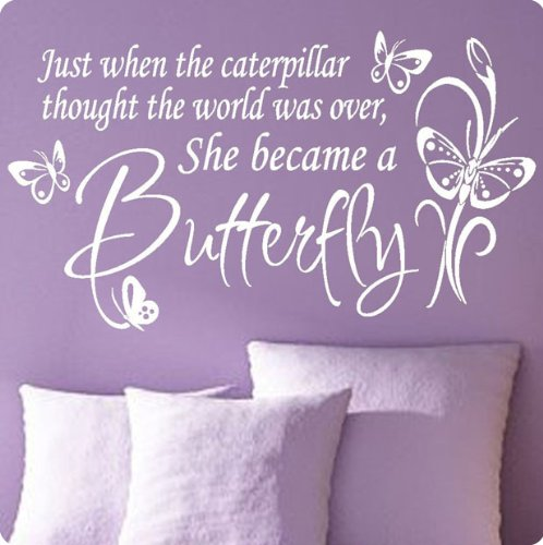 Fresh Large White Butterfly Caterpillar Wall Decal Little Girls Room Nursery Decal Quote Vinyl Love