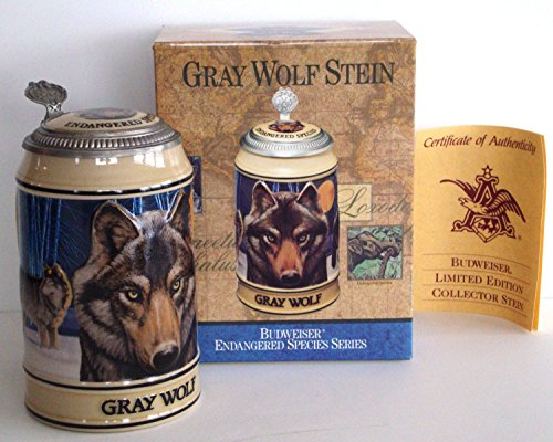 BUDWEISER ENDANGERED SPECIES SERIES LIDDED BEER STEIN, GRAY WOLF