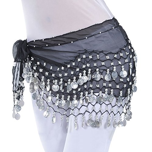AveryDance 128 Silver Coins Chiffon Hip Scarf Belly Dance Halloween Costumes