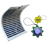 HQRP 45W Flexible Solar Panel 45 Watt Power 12V Mono-crystalline PV Module w/ 6 Stainless Grommets for RV Boat Yacht plus HQRP UV Chain / UV Radiation Health Tester