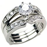 Holly: 2.2ct Russian Ice on Fire CZ 2 pc Wedding Ring Set with Ring Guard 925 Silver, 3096