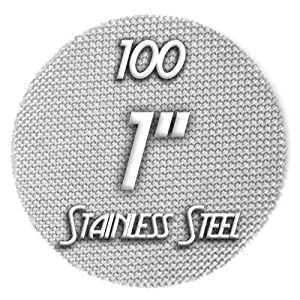 "100 Large 1"" Inch Stainless Steel Pipe Screens, Vaporizer Screens"