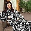 Zebra Print Soft Warm Cosy Snuggle TV Blanket Fleece Snug Sleeves Sleeved Rug