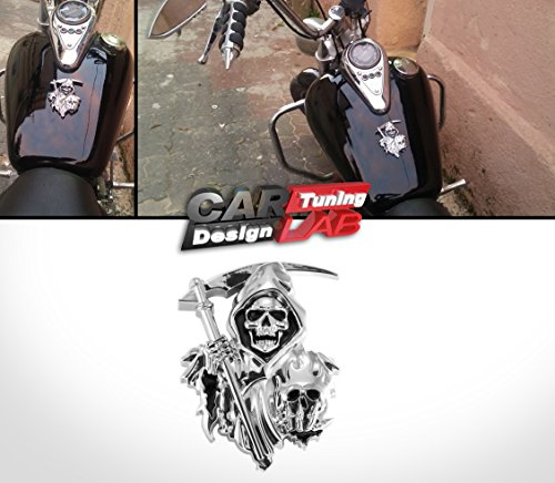 3d Custom Chrome Reaper Skull Emblem Badge Snake Cobra Sticker Car Trunk Motorcycle Fuel Tank CarLab (Chrome Motorcycle Badge compare prices)