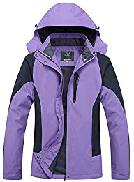 WantDo Womens Front-Zip Hooded Rainco…
