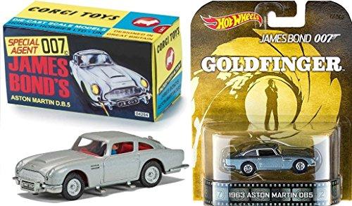 Hot Wheels Entertainment Goldfinger James Bond Car Set Aston Martin DB5 Retro & Corgi Sean Connery Cars (Silver Bullet Hot Wheels compare prices)