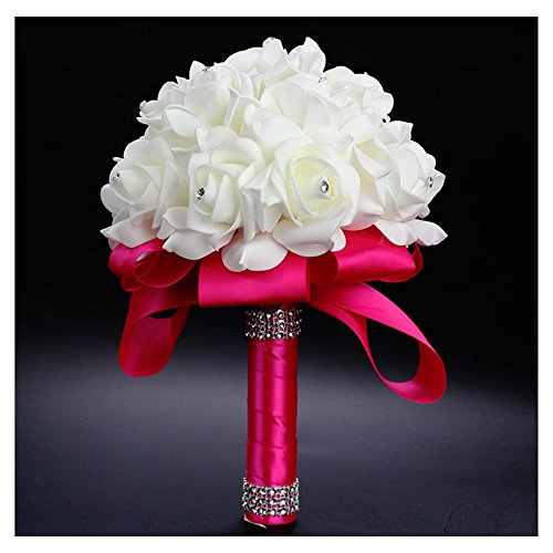 StillCool® Still Fuchia Crystal Pearl Silk Roses Bridal Bridesmaid Wedding Bouquet (18cm*24cm, Fuchia)