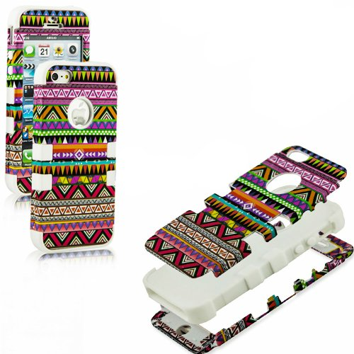 Mylife (Tm) White - Colorful Tribal Print Series (Neo Hypergrip Flex Gel) 3 Piece Case For Iphone 5/5S (5G) 5Th Generation Itouch Smartphone By Apple (External 2 Piece Fitted On Hard Rubberized Plates + Internal Soft Silicone Easy Grip Bumper Gel + Lifeti