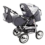 Lux4Kids King 2 in 1 Pram Combi Stroller & Pushchair (rain cover, mosquito net, beverage tray, mattress, changing mat) 03 GT-Silver Flowerpower