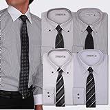 (アトリエサンロクゴ) atelier365 (ネクタイ付き) 出来る男のドレスシャツ10点セット (ワイシャツ5枚/ネクタイ5本)全6種/ at105
