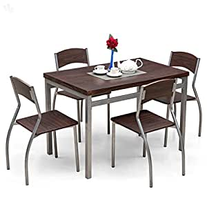Royal oak zita dining table set with 4 chairs black for Kitchen set royal surabaya