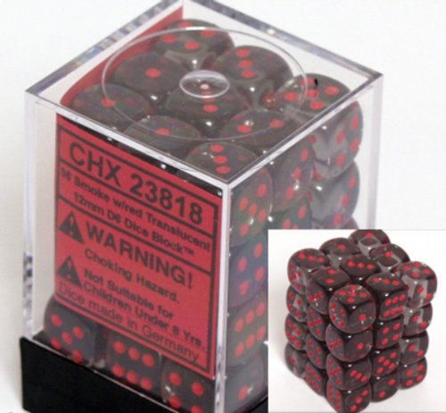 Chessex Dice d6 Sets: Smoke with Red Translucent - 12mm Six Sided Die (36) Block of Dice