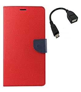 Mobimax Premium Dairy Wallet Cover Case For Sony Xperia ZR -Red,Micro OTG