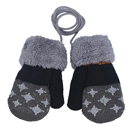 DZT1968 1 Pair Winter Baby Cute Thick Gloves Mittens With String (0-12 Months) (Dark Grey)