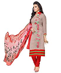 Kavvya Fashion Women's Beige And Red Chanderi Cotton Embroidery UnStitched Festival Dress Material
