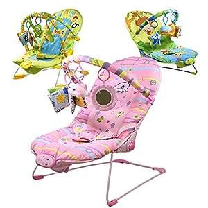 Monsieur Bébé ® Transat vibrant et musical + Barre à jouets et dossier inclinable - Trois modèles - Norme EN 12790
