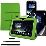 kwmobile 3in1 Set: Hülle für Asus Padfone 2 mit Ständer - Kunstleder Tablet Case Cover Tasche Schutzhülle in Grün + Folie, kristallklar + Stylus, Schwarz