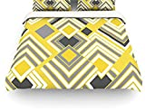"""Kess InHouse Jacqueline Milton """"Luca Gold"""" Yellow Gray Twin Cotton Duvet Cover, 68 by 88-Inch"""