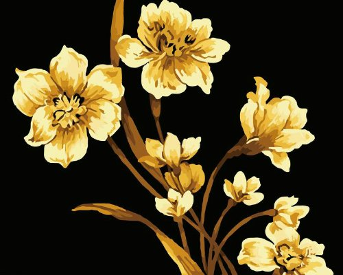 Diy oil painting, paint by number kit- Gloden Flowers 16*20 inch.