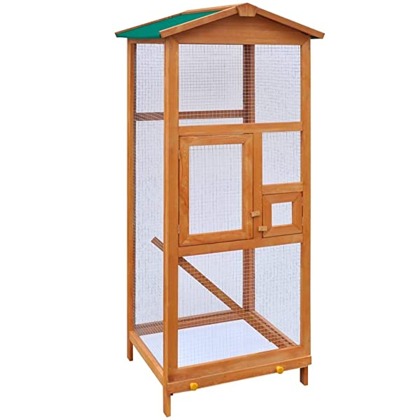 Wood Bird Cage, 25.6 x 24.8 x 65 (L x W x H) Upgrade Spacious Bird Cage Wood Made Outdoor Aviary Bird Cage with Doors and Stairs for Parrots Pigeons