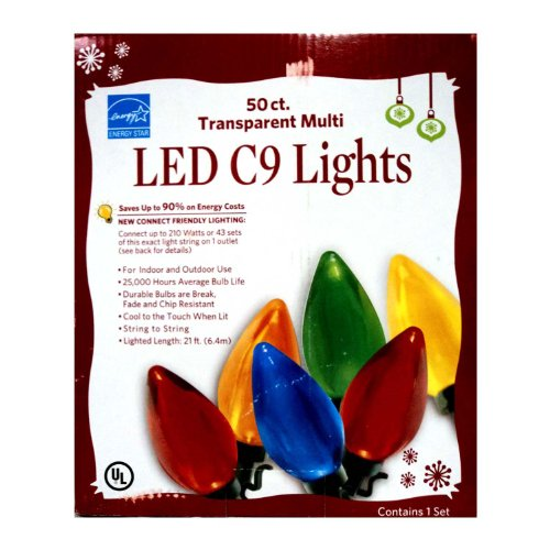 LED C9 LIGHTS 50 COUNT INDOOR/OUTDOOR MULTI COLORED GREEN CORD
