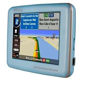 "Takara GP34 Europe GPS Nomade Ecran Tactile 3,5"" Lecteur Multimédia Mémoire interne 2 Go Bleu"