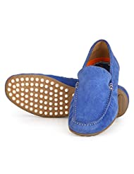 Aditi Wasan Men's Casual Driving Suede Leather Shoe In Blue Colour