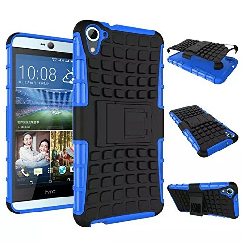 Chevron Kick Stand Spider Hard Dual Rugged Armor Hybrid Bumper Back Case Cover For hTC Desire 820S (Blue)