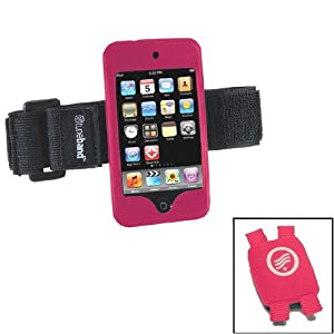 Tuneband and Shoe Pouch, Grantwood Technology's Armband, Silicone Skin and Screen Protector for iPod touch 8GB/16GB/32GB/64GB (2nd and 3rd Generation), Includes Shoe Pouch for Nike+iPod, PINK