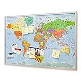 Pinnwand Weltkarte 90x60cm - Memotafel mit Cork & 20 Markierfähnchen