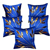FabLooms Blue N Golden Leaf Design Cushion Covers - Set Of 5 (40.64 X 40.64 CM)
