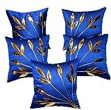 FabLooms Blue N Golden Leaf Design Cushion Covers - Set of 5 (40.64 x 40.64 CM)