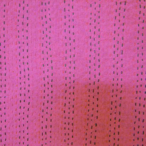 Patrón Pure Cotton Gudri Nueva Kantha Stitch edredón Floral Queen Size Bed Spread 110