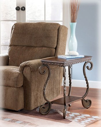Metal Side End Coffee Table Scroll Design Arm Chair Living Room Brown Accent