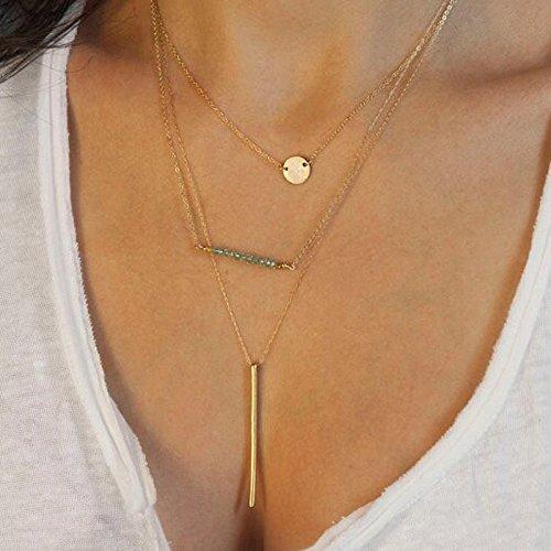 Bestpriceam (TM) Women Bang Bang Multilayer Crystal Pendant Gold Chain Statement Necklace